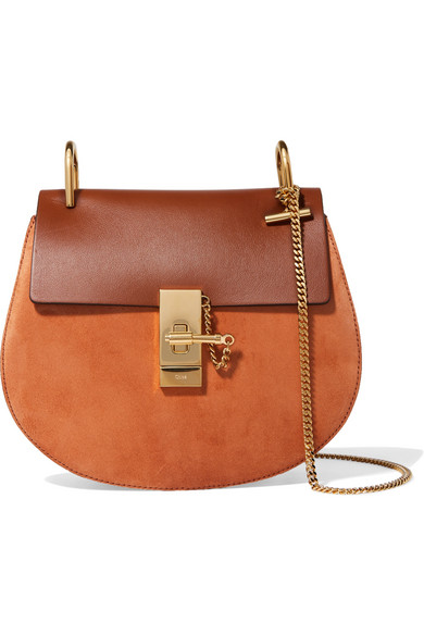 Chloé - Drew Small Leather And Suede Shoulder Bag - Tan