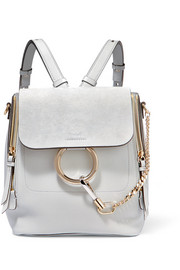 Faye small textured-leather and suede backpack