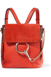 Faye small leather and suede backpack