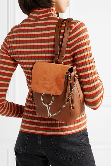 Faye small textured-leather and suede backpack d5ef8c3440b8d