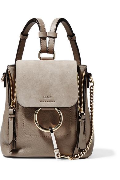 Chloé Faye mini Rucksack aus strukturiertem Leder und Veloursleder Auslass Bestseller 2xgT5i