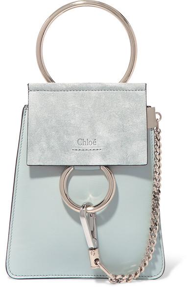 Chloé Faye Bracelet Schultertasche aus Leder und Veloursleder