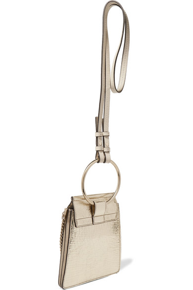 Chloé Faye Bracelet mini Schultertasche aus Craquelé-Leder in Metallic-Optik