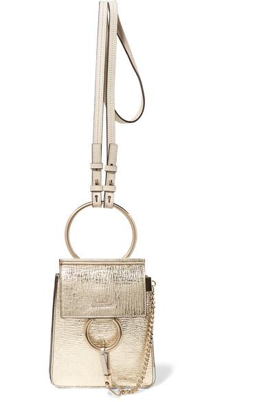 7a0b4dfd8f CHLOÉ Faye Bracelet Mini Metallic Cracked-Leather Shoulder Bag ...