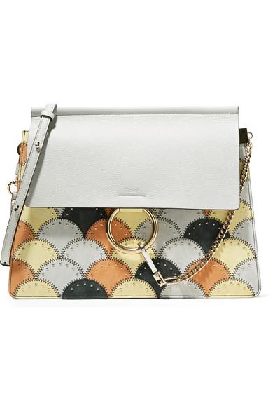 Chloé - Faye Studded Medium Patchwork Leather And Suede Shoulder Bag - Light gray