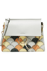 Chloé Faye studded medium patchwork leather and suede shoulder bag