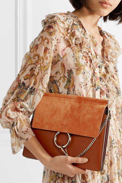 Chloé Faye Medium Sized Shoulder Bag Made Of Leather And Suede