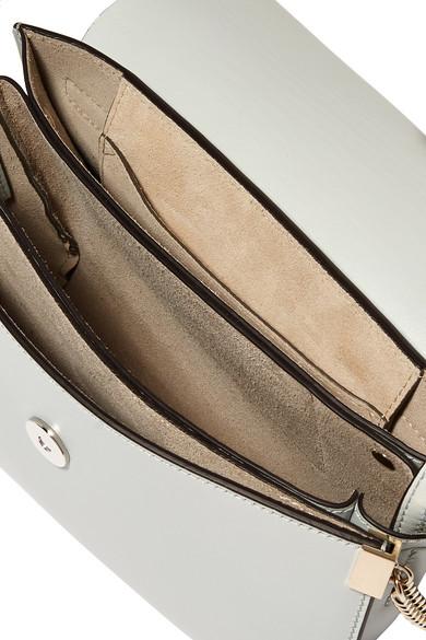 Chloé Faye kleine Schultertasche aus Leder und Veloursleder