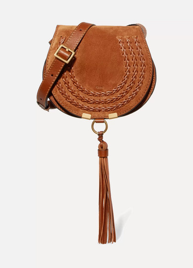 Chloé - Marcie Mini Whipstitched Suede And Textured-leather Shoulder Bag - Tan