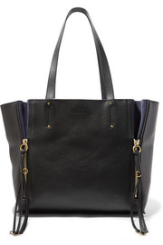 Chloé Milo medium suede-trimmed textured-leather tote