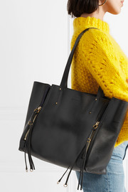 Milo medium suede-trimmed textured-leather tote