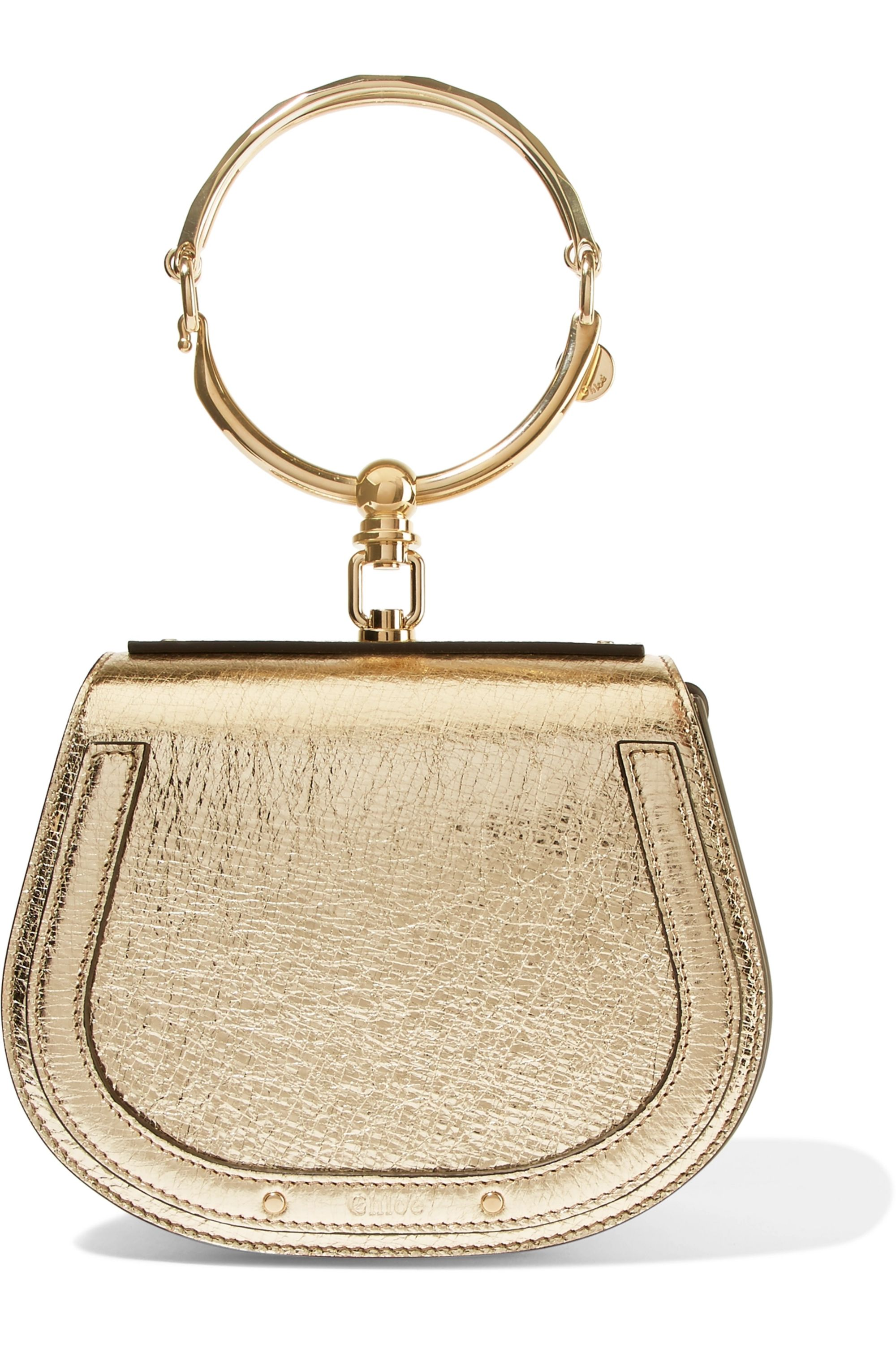 Chloé Nile Bracelet small metallic textured-leather and suede shoulder bag