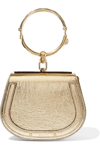 Chloé Nile Bracelet kleine Schultertasche aus strukturiertem Leder und Veloursleder in Metallic-Optik 100% Zum Verkauf Garantiert Nllxmr