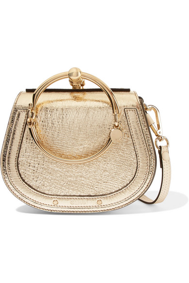488fff56c8 Nile Bracelet small metallic textured-leather and suede shoulder bag