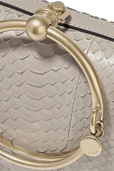 Chloé Nile Bracelet kleine Schultertasche aus Pythonleder mit Lederbesatz