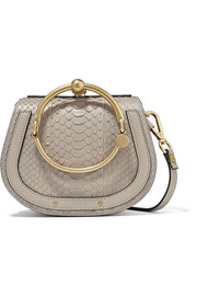 Nile Bracelet small leather-trimmed python shoulder bag