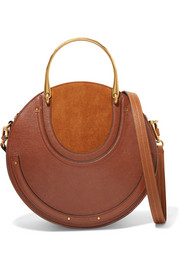 Pixie large suede and textured-leather shoulder bag