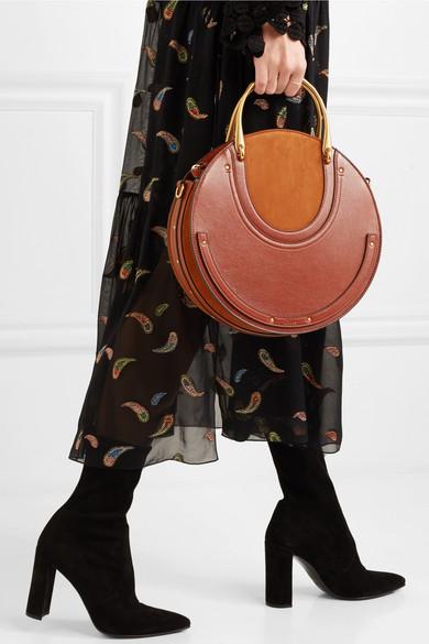 Chloé Pixie große Schultertasche aus Veloursleder und strukturiertem Leder