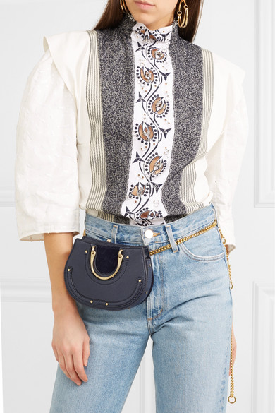 Chlo 233 Pixie Mini Suede And Textured Leather Belt Bag