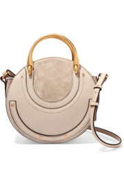 Chloé Pixie small suede and textured-leather shoulder bag