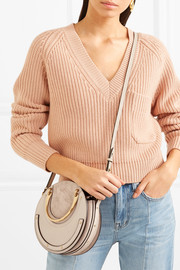 Pixie small suede and textured-leather shoulder bag
