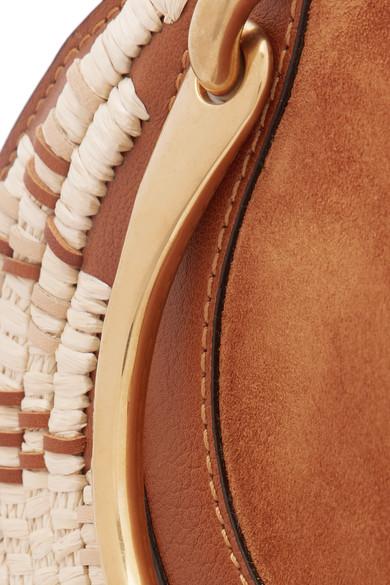 Chloé Pixie Schultertasche aus Veloursleder, Leder und Raffiabast