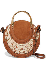 Pixie suede, leather and raffia shoulder bag
