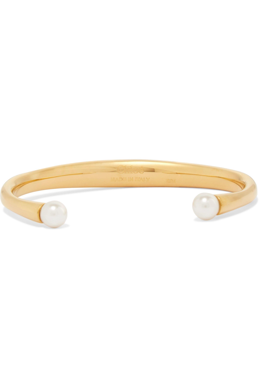 Chloé Bracelet en métal doré et perles Swarovski Darcey