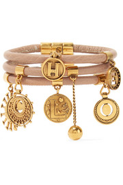 Chloé Leather and gold-tone charm bracelet