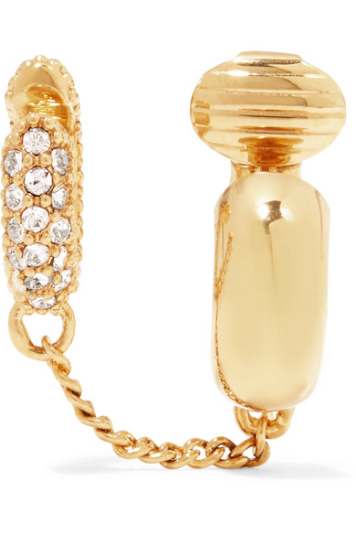 Chloé - Carly Gold-plated Crystal Clip Earring