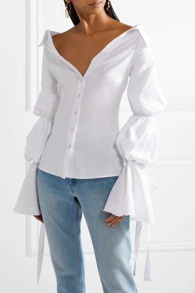 77dc5ff45927e Caroline Constas. Margaret off-the-shoulder cotton-blend poplin blouse