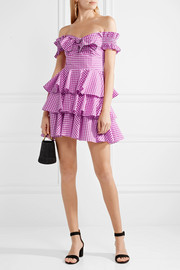 Helena off-the-shoulder gingham cotton-poplin mini dress