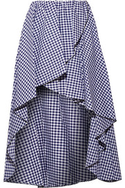 Adelle ruffled gingham cotton-poplin skirt