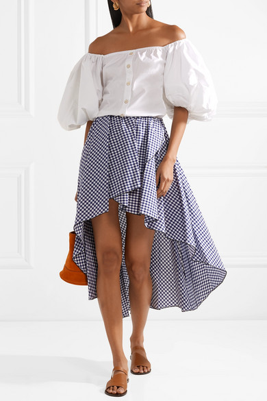 Caroline Constas Adelle Checkered Volant Rock From Cotton Poplin