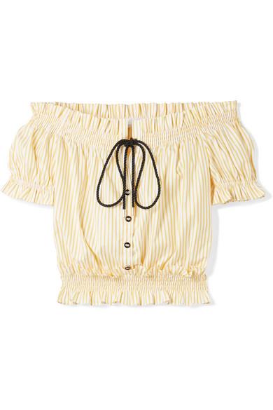 Caroline Constas Schulterfreies Oberteil aus Baumwollpopeline mit Streifen