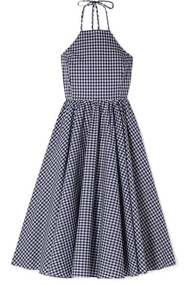 Caroline Constas Gretta Kleid aus Baumwollpopeline mit Gingham-Karo