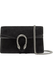 Dionysus super mini suede and leather shoulder bag