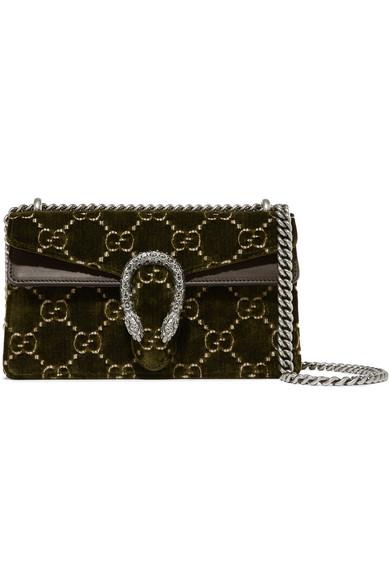a88889ab183 Gucci. Dionysus leather-trimmed embossed velvet shoulder bag