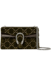 Gucci Dionysus leather-trimmed embossed velvet shoulder bag