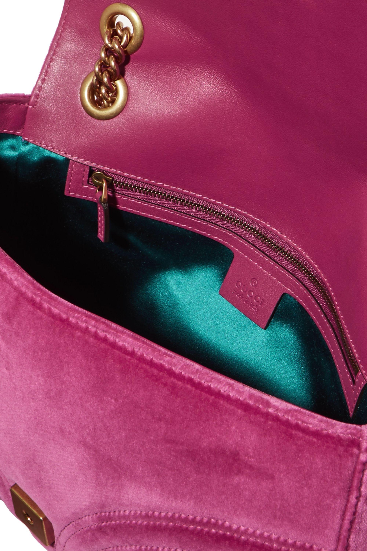Gucci GG Marmont medium embellished quilted velvet and leather shoulder bag
