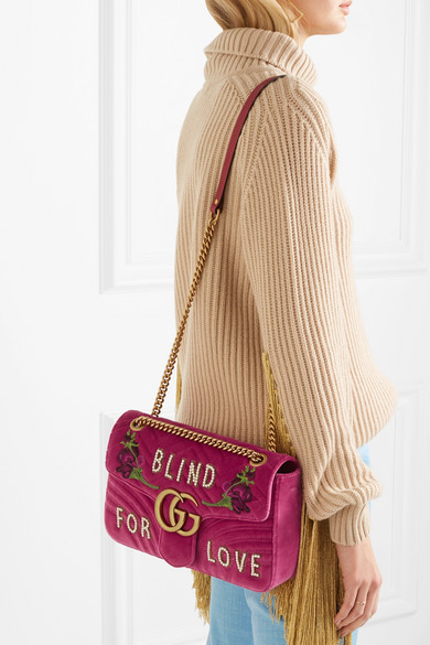 fde7174d2d79 Gucci. GG Marmont medium embellished quilted velvet and leather shoulder bag.  £1,980. Zoom In