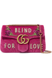 GG Marmont medium embellished quilted velvet and leather shoulder bag