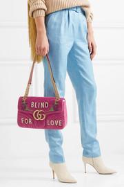 GucciGG Marmont medium embellished quilted velvet and leather shoulder bag
