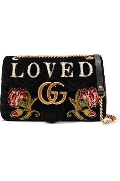 e596db2679 Gucci. GG Marmont medium embroidered matelassé velvet shoulder bag