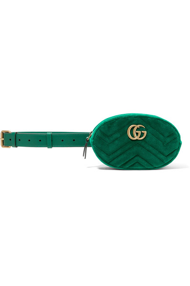 b030ef60675a Gucci | GG Marmont quilted velvet and leather belt bag | NET-A ...