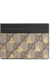 GG Supreme printed coated-canvas and leather cardholder