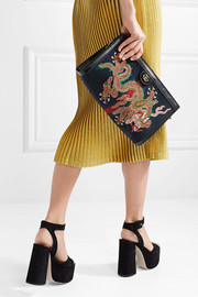 Gucci Ophidia embroidered suede shoulder bag