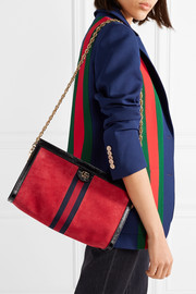 Gucci Ophidia patent-leather trimmed suede shoulder bag