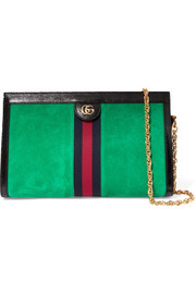 Ophidia patent leather-trimmed suede shoulder bag