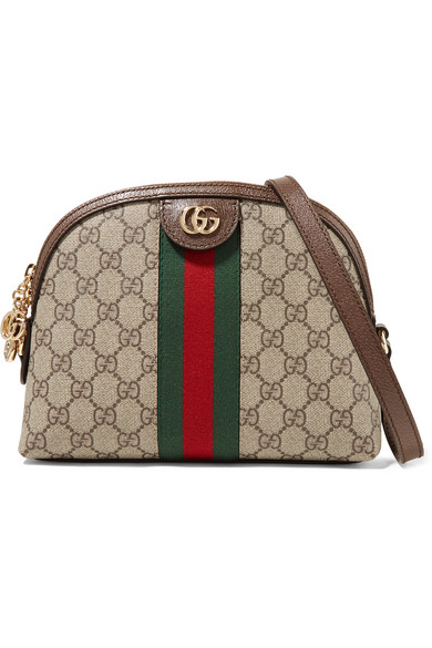 Gucci Ophidia Leather Trimmed Printed Coated Canvas Shoulder Bag In 8745 Beige